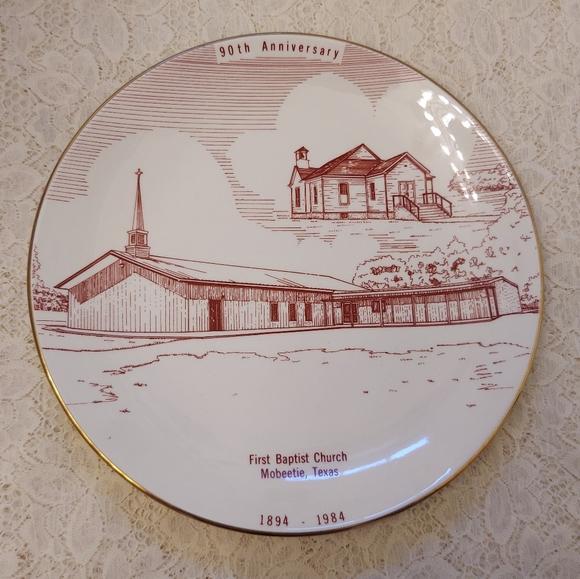 Vintage Souvenir Plate Mobeetie TX Baptist Church